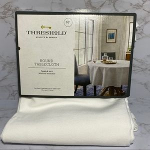 "Threshold White 70"" Round Tablecloth New"
